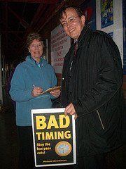 Martin Tod collects a signature from Audrey Bayes on the Lib Dem 'Bad Timing' petition