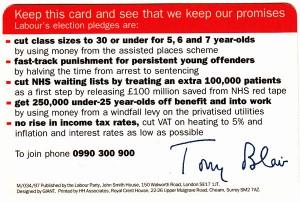 Labour's 1997 General Election Pledge Card