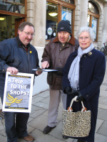 David Spender collecting signatures for the Trip to the Shops campaign in Winchester High Street