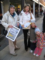 Charlotte Bailey collecting signatures for the Trip to the Shops campaign in Winchester High Street