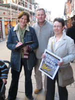 Kelsie Learney collecting signatures for the Trip to the Shops campaign in Winchester High Street