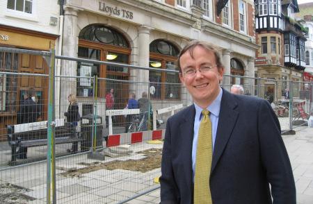 Tackling the pavements outside Lloyds Bank