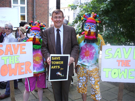 Martin Tod joined local campaigners to protest at the closure of Tower Arts