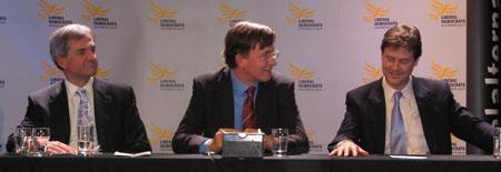 Chris Huhne MP, Martin Tod and Nick Clegg MP at Winchester Leadership meeting