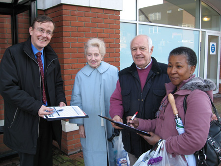Martin Tod and Stuart Rudd out collecting petition signatures from local residents