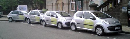 Whizzgo cars outside the Guildhall