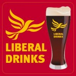 Square Deep Red Beermat - Liberal Drinks Logo and Glass