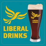 Square Aqua Beermat - Liberal Drinks Logo and Glass