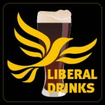 Square Black Beermat - Liberal Drinks Logo over Glass