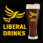 Square Black Beermat - Liberal Drinks Logo and Glass