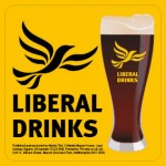 Square Orange Beermat - Liberal Drinks Logo and Glass
