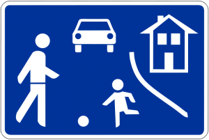 Road sign for Home Zones or Spielstrassen