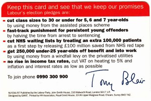 Labour's 1997 General Election Pledge Card